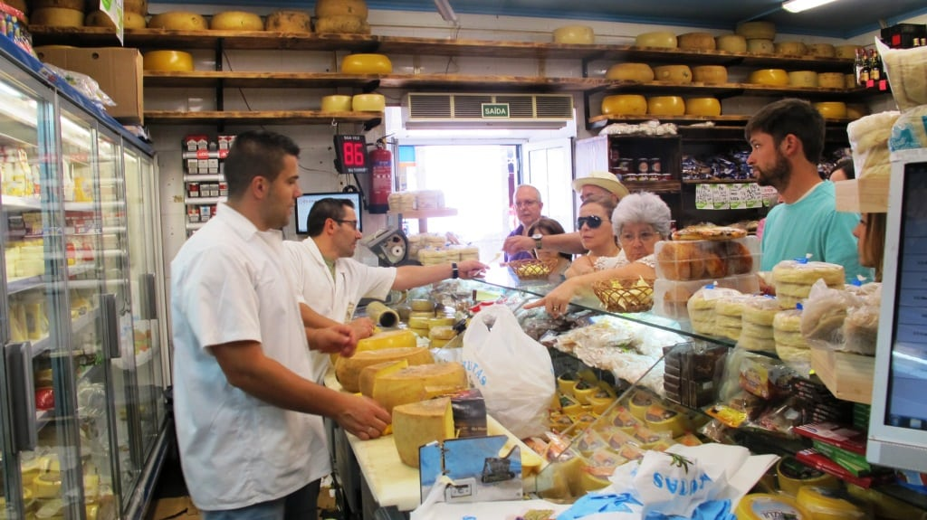 The counter at famous cheese shop O Rei Dos Queijos - the cheese from and named after São Jorge island is a great favourite