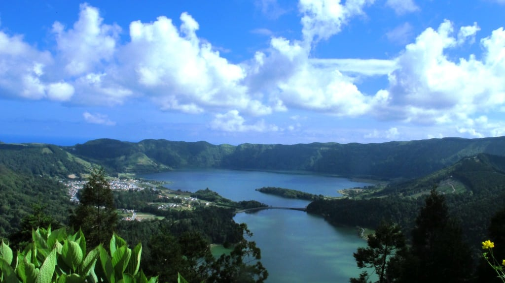 Lagoa das Sete Cidades (lagoon of the seven cities), located in the crater of a volcano on Sao Miguel island, Azores.