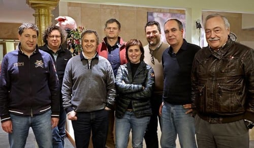 The members of Baga Friends (l to r) António Rocha of Buçaco Wines, Dirk Nieport of Niepoort/Quinta do Baixo, Mário Sérgio Alves Nuno of Quinta das Bageiras, François Chasans of Quinta da Vacariça, Filipa Pato, Paulo Sousa of Sidónio de Sousa, Luis Pato
