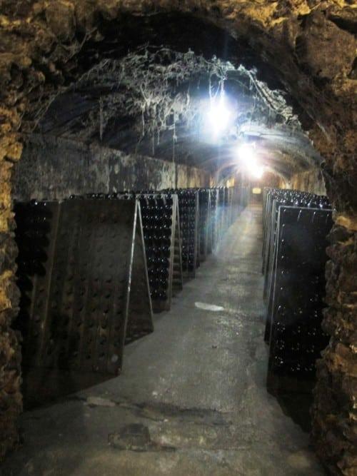 Pupitres for hand riddling sparkling wines at Caves São João