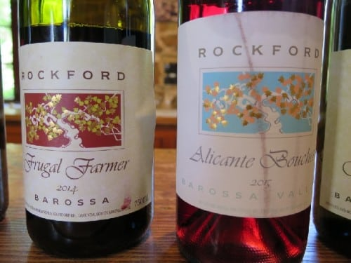 Rockford's Alicante Bouschet is a roaring success but I loved the frugal farmer - Grenache and Mataro fermented over Alicante Bouschet skins to make a smashable light red