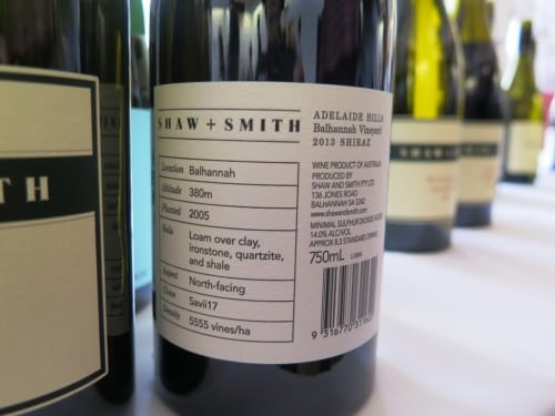 The back label of Shaw & Smith's new back of the winery single vineyard Shiraz