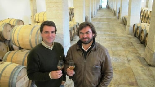 Winemaker Tiago Correia with project manager Alexandre Lisboa pictured in the recently renovated palace barrel room