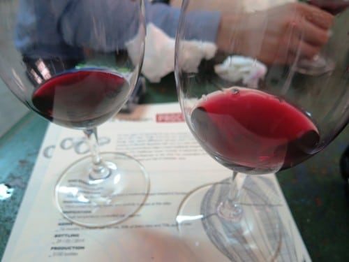 A barrel sample of Susana Esteban Porcura 2014 to the left, Sidecar 2014 to the right